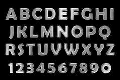 Silver font. Metal alphabet. chrome font Stock Image