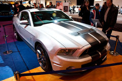 Silver Ford Mustang. Front view of a brand new Silver Ford Mustang on display at the 2010 Canadian International Auto Show, Toronto, Canada Royalty Free Stock Photos