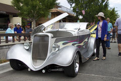 Silver 1933 Ford Roadster Street Rod at the auto show Stock Image