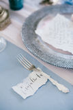 Silver fork as element of table wedding decorations. Stock Image