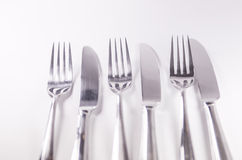 Silver fork and knief isolated on white background Stock Photography