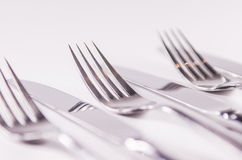 Silver fork and kniefs isolated on white background Stock Photography