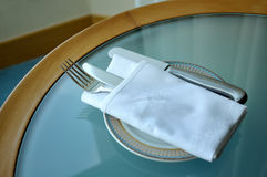 Silver fork and knife. Close up of silver fork and knife Stock Image