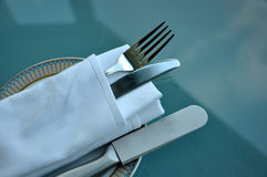 Silver fork and knife. Close up of silver fork and knife Stock Images