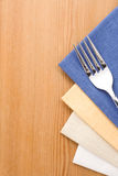 Silver fork and knife  on napkin Royalty Free Stock Photo