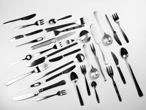 Silver Fork and Knife, Tableware Stock Photo