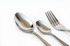 Silver fork and spoon Royalty Free Stock Photo