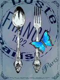 Silver fork and spoon with butterfly Stock Images
