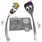 Silver fork and spoon icon with credit card Stock Photo