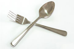 Silver fork and spoon Royalty Free Stock Images
