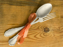 Silver fork and spoon Royalty Free Stock Image