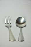 Silver fork and spoon. On white background. & x28;clipping path& x29 Stock Photos