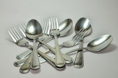 Silver fork and spoon. On white background. & x28;clipping path& x29 Stock Photo