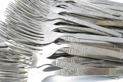 Silver Forks close up Royalty Free Stock Photo
