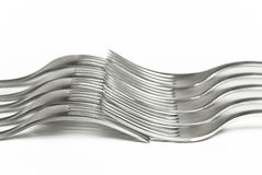 Silver forks interlocked together Stock Image