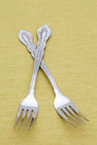 Silver forks on table Royalty Free Stock Images