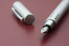 Silver fountain pen Royalty Free Stock Photo