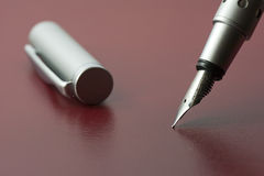 Silver fountain pen Royalty Free Stock Photography