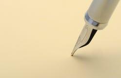 Silver fountain pen closeup Stock Photography