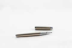 Silver fountain pen. Silver fountain pen isolated on white background Royalty Free Stock Images