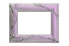 Silver frame. On white background Royalty Free Stock Photos