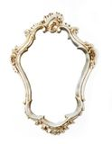 Silver frame. Old antique silver frame over white background Royalty Free Stock Photography
