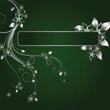 Silver frame. Silver floral frame on green background Royalty Free Illustration