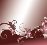 Silver frame. Silver floral frame on pink background Vector Illustration