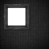 Silver frame on black and grey linen abstract texture Stock Photo