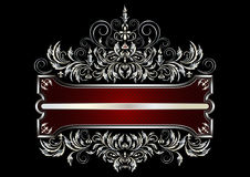 Silver frame with decor of the Victorian Style Royalty Free Stock Photo