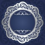 Silver frame. Floral rounded frame. Silver background Stock Photos