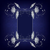 Silver frame with flowers and curls Royalty Free Stock Photos