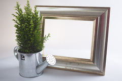 Silver frame for gardener. With watering can Royalty Free Stock Images