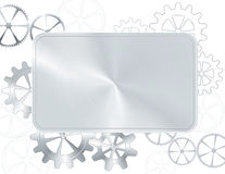 Silver frame with gear Royalty Free Stock Image