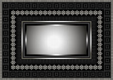 Silver frame with geometric ornament on black background Royalty Free Stock Image