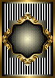 Silver frame with gold decor on striped background Stock Photography