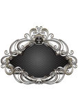 Silver frame with heraldry and decor of beads and twisted curves Royalty Free Stock Images