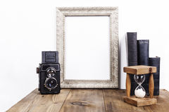 Silver Frame With Hourglass Royalty Free Stock Photo