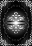 Silver frame with openwork decor on striped black background Royalty Free Stock Photography