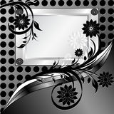 Silver frame with ornament Royalty Free Stock Photos