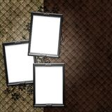 Silver frame over vintage striped wallpaper Royalty Free Stock Photo