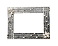 Silver frame. Silver picture frame with pearls on a white background isoladed of the Stock Photos