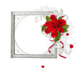Silver frame with red roses Royalty Free Stock Photo