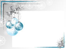 Silver frame. With ribbon and blue balls Royalty Free Stock Photo