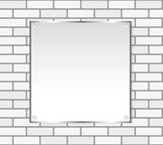 Silver frame on a white wall vector. Silver frame on white brick wall. Vector, seamless texture Royalty Free Stock Images