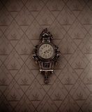 Silver Framed Analog Wall Clock Stock Photo