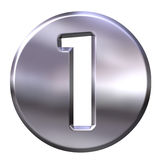 Silver Framed Number 1. 3D Silver Framed Number 1 Stock Photography
