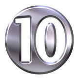 Silver Framed Number 10 Royalty Free Stock Photo