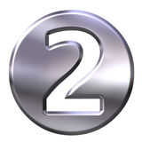 Silver Framed Number 2. 3D Silver Framed Number 2 Royalty Free Stock Image