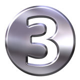 Silver Framed Number 3. 3D Silver Framed Number 3 Royalty Free Stock Photography